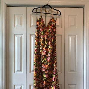 Milly Size 8 Gold Chain Halter Maxi Dress